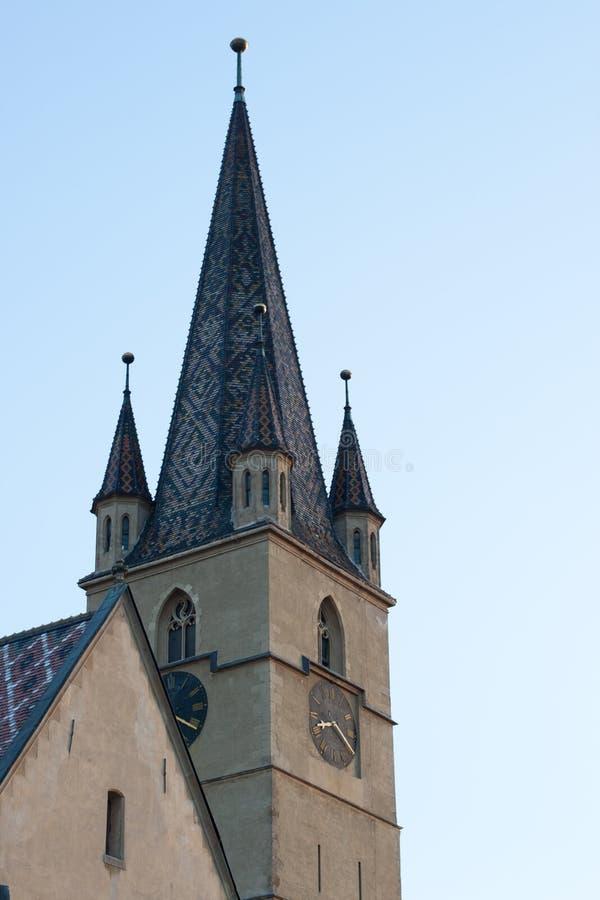 Torre da igreja de Evanghelical em Sibiu fotos de stock