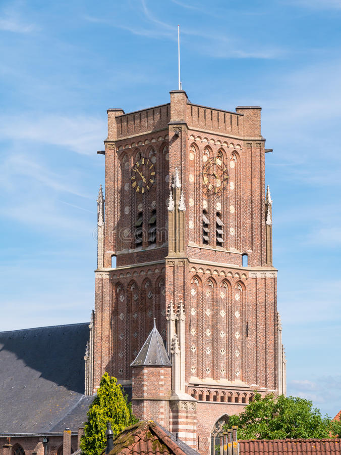 Torre da igreja do ` s de St Martin na cidade fortificada de Woudrichem, fotografia de stock royalty free