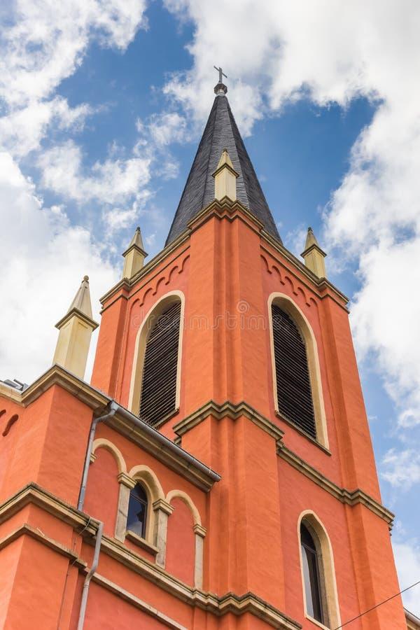 Torre da igreja evangélica em Limburgo um der Lahn imagens de stock