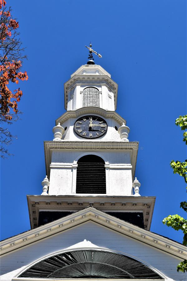 Torre da igreja, situada na cidade de Peterborough, Hillsborough County, New Hampshire, Estados Unidos fotos de stock