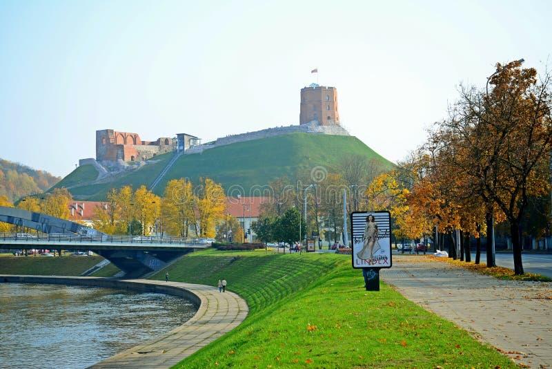 Torre da opinião de Gediminas - enevoe na cidade de Vilnius fotos de stock royalty free
