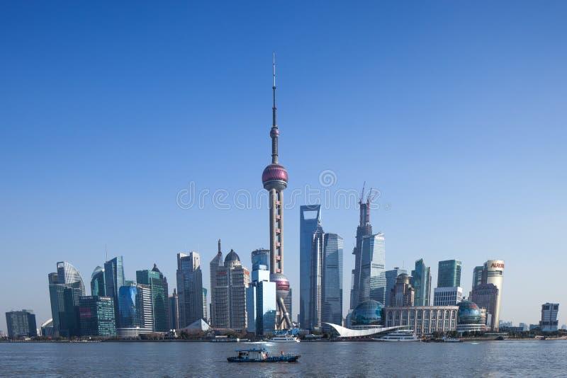 Torre da tevê de Shanghai e Lujiazui, marco fotos de stock royalty free
