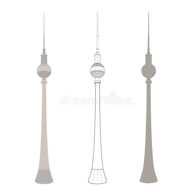 Torre da tevê nos ícones lisos do vetor da coleção de Berlin Germany ajustados para o design web e as ilustrações ilustração stock