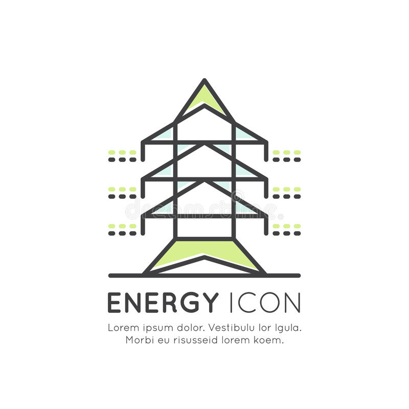 Torre da transmissão da linha elétrica ou pilão de alta tensão, luz de poupança de energia, conexão, indústrias ilustração royalty free