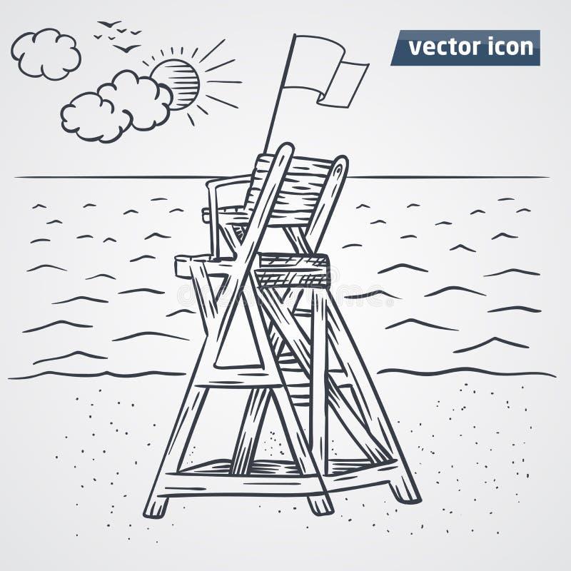 Torre da vigia no vetor da praia ilustração royalty free