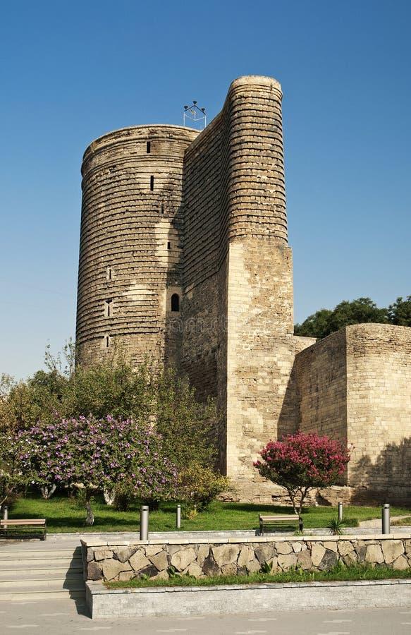 Torre das donzelas em baku azerbaijan imagens de stock royalty free