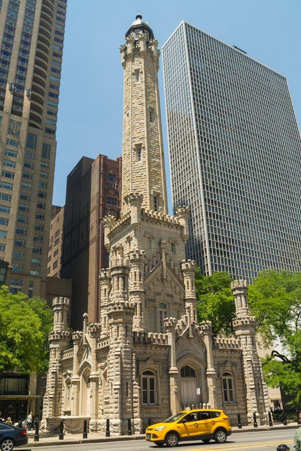 Torre de água em Chicago fotos de stock