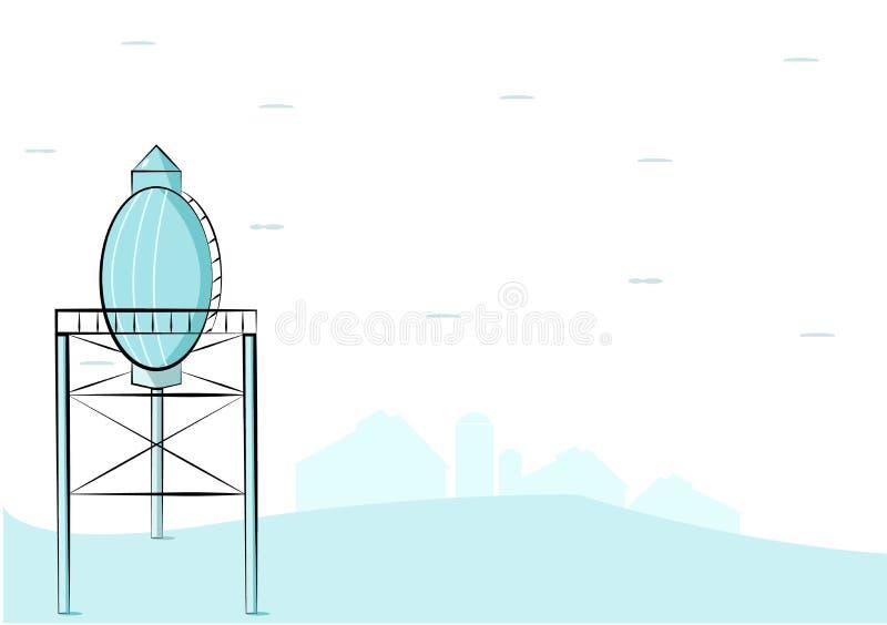 Torre de ?gua no estilo monocrom?tico azul ilustração royalty free