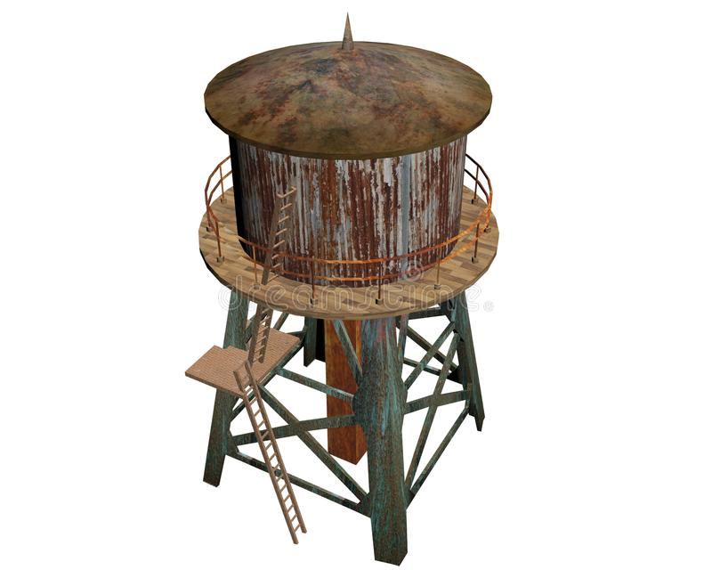 A torre de água oxidada velha fotografia de stock royalty free