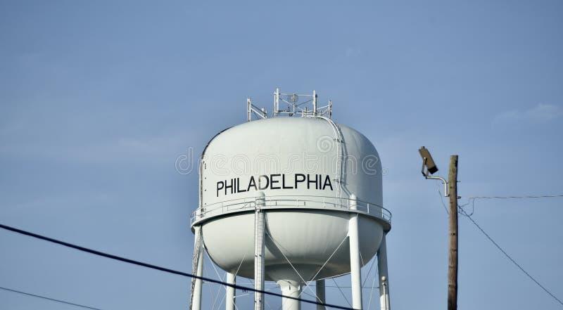 Torre de água de Philadelphfia, Mississippi foto de stock