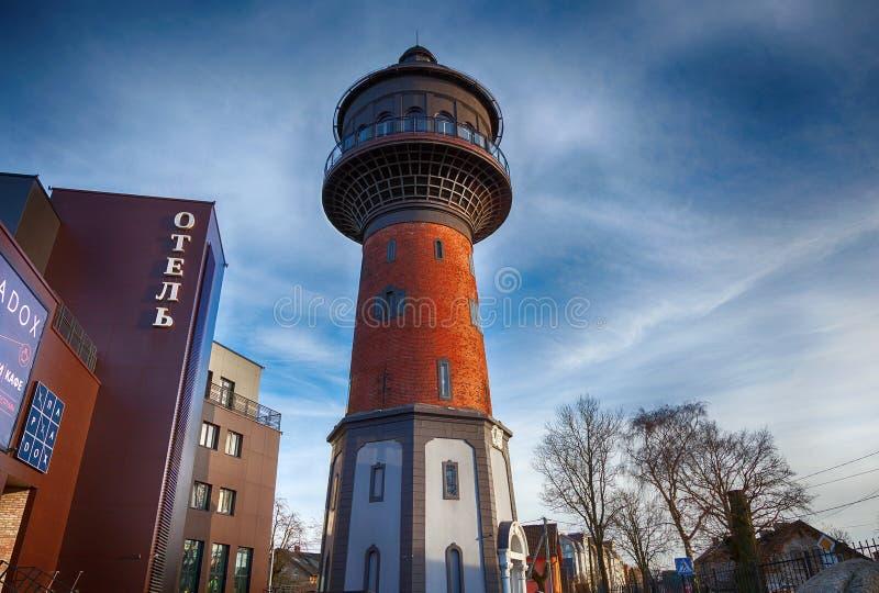 A torre de água velha é um marco da cidade, área de estância turística fotos de stock royalty free