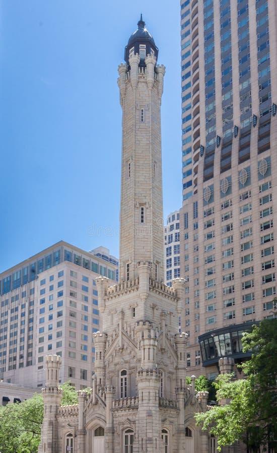 Torre de água velha Chicago Illinois foto de stock royalty free