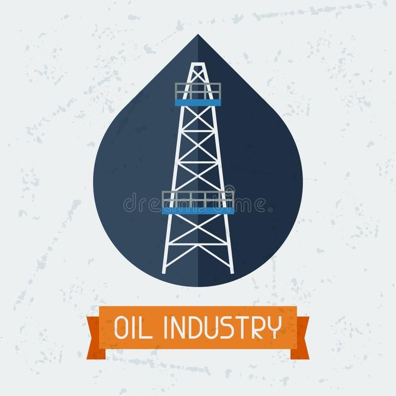 Torre de óleo no fundo do campo petrolífero ilustração stock