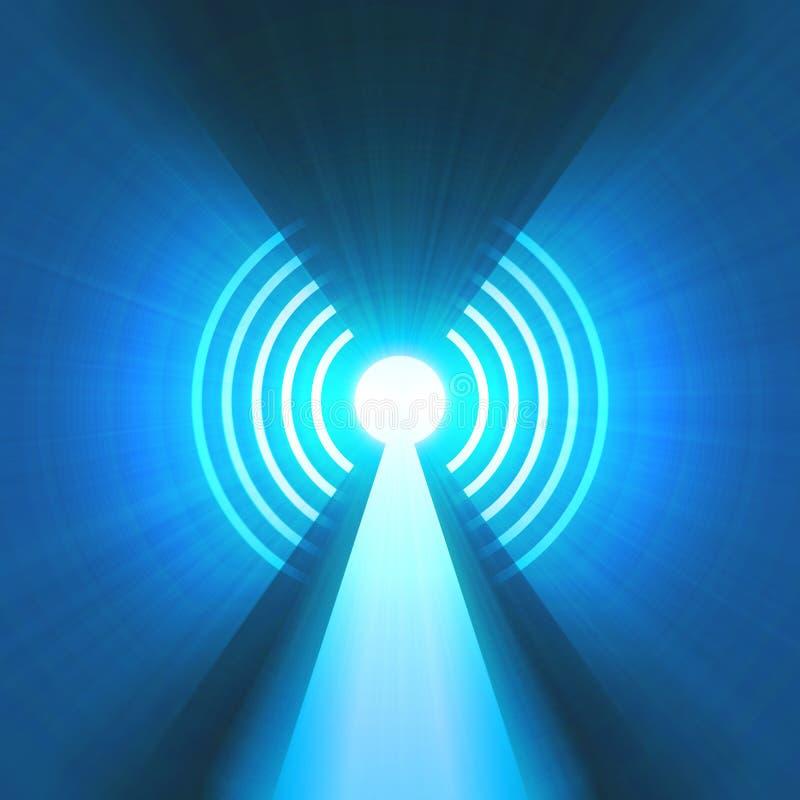 Torre de antena com o alargamento da luz de sinal ilustração stock