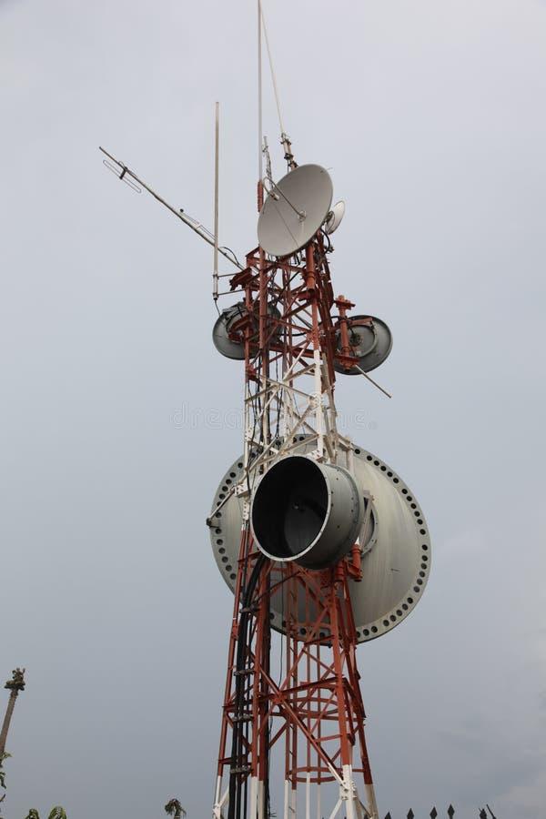 Torre de antena de la comunicación de Cartagena Columbia imágenes de archivo libres de regalías