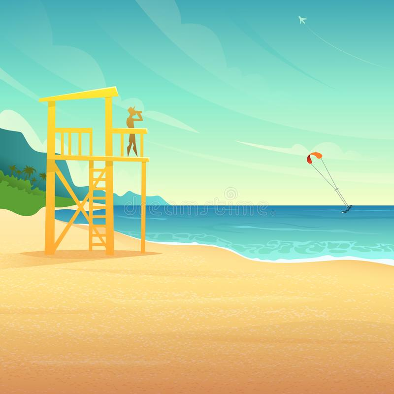 Torre de Baywatch na casa arenosa da salva-vidas da costa na praia tropical Salva-vidas que olha o surfista do rolamento no mar ilustração royalty free