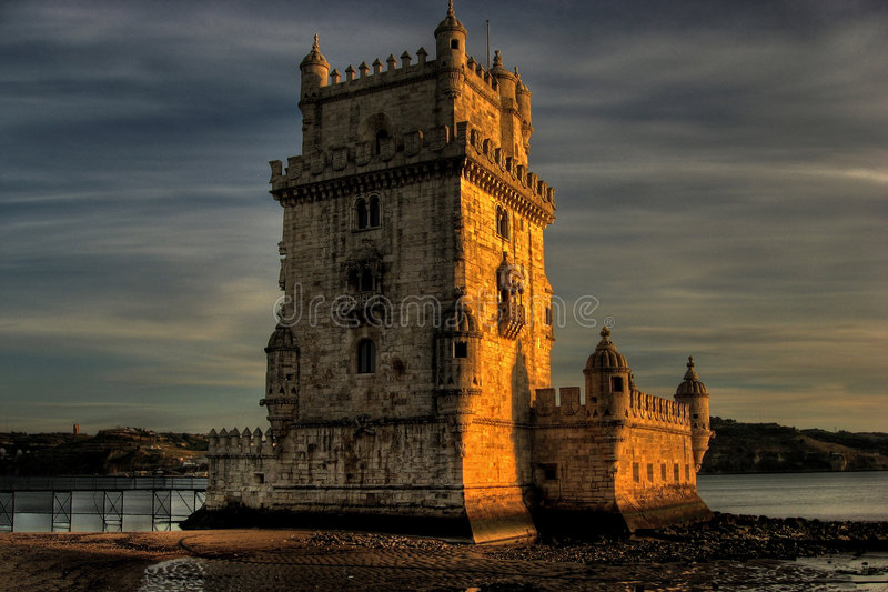 Torre de Belém. It was built in the early 16th century in the Portuguese late Gothic style, the Manueline, to commemorate Vasco da Gama's expedition. This royalty free stock photography