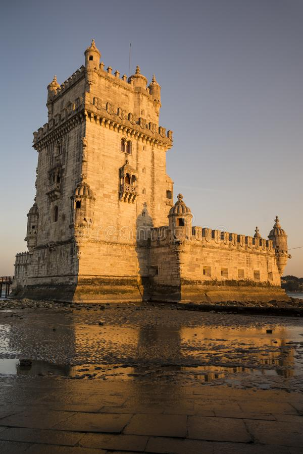 Torre de Belém, one of the most famous monuments of the city of Lisbon, Portugal. stock images