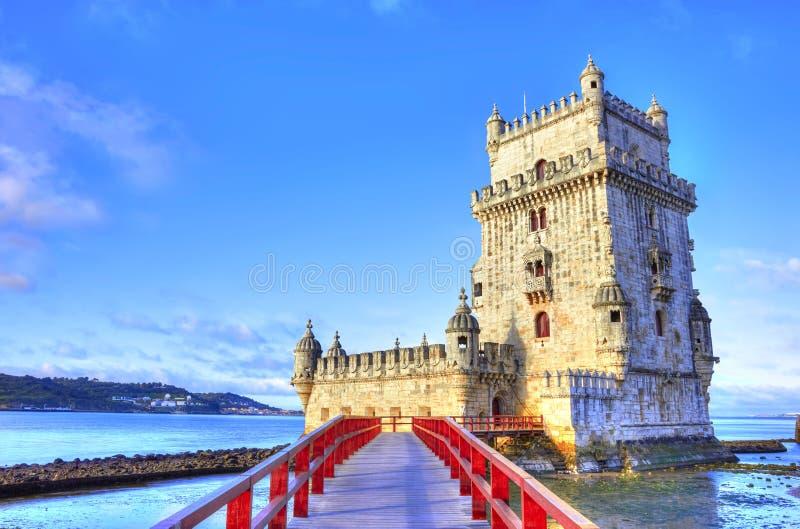 Torre de Belem en el banco del río Tagus foto de archivo libre de regalías