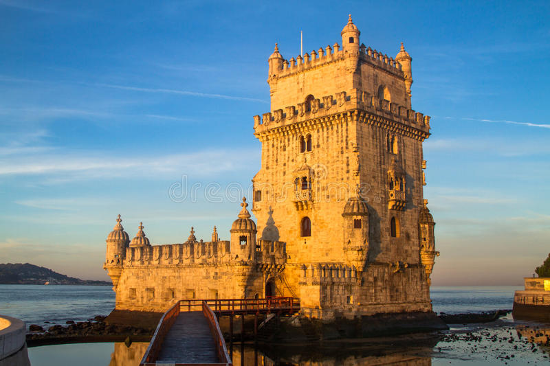 Torre de Belem tower, Lisbon. Torre de Belem tower in Lisbon, Portugal sunrise royalty free stock images