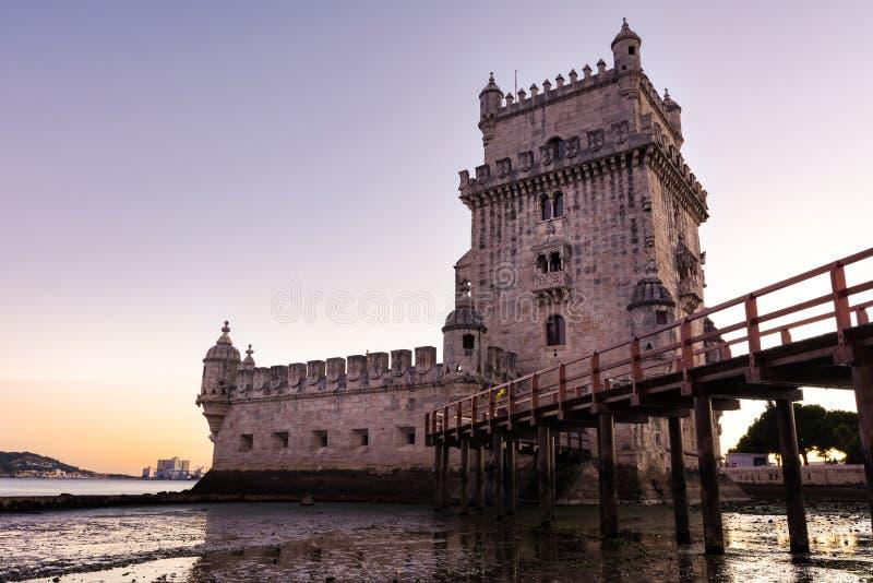 Torre De Belem UNESCO-Welterbanblick-europäischer Geschichtsbogen stockbild