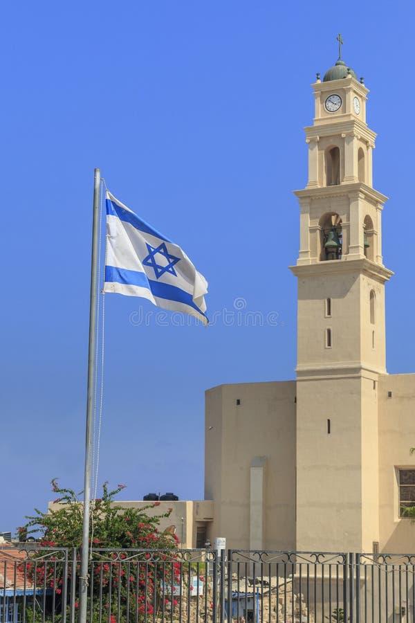 Torre de Bell com o pulso de disparo da igreja de St Peter em Jaffa, I fotografia de stock royalty free