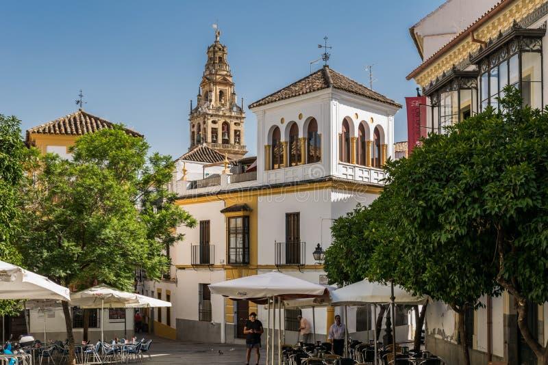 Torre de Bell da catedral em Córdova imagens de stock royalty free