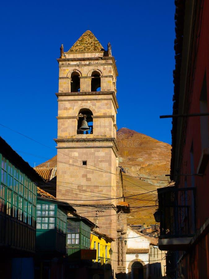 Torre de Bell de San Francisco Convent em Potosi fotografia de stock royalty free