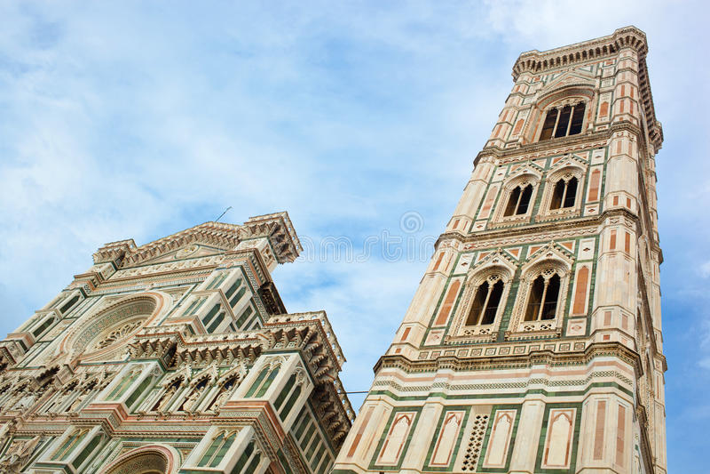Torre de Bell dos di Santa Maria del Fior da basílica, Florença, I fotos de stock