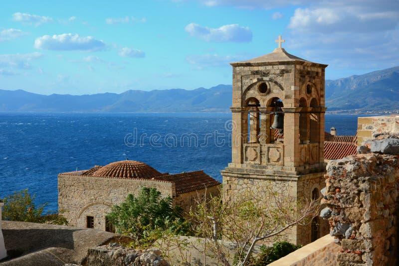 Torre de Bell no Monemvasia, Grécia imagem de stock royalty free
