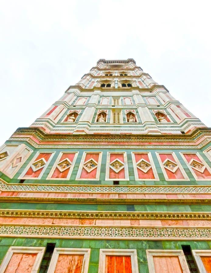 Torre de Bell para os di Santa Maria del Fiore da basílica e o Campanile de Giotto - Florença, Itália imagem de stock
