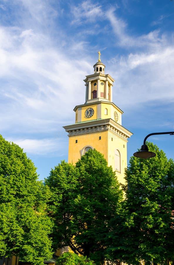 Torre de Bell de Santa Maria Magdalena Church, Éstocolmo, Suécia fotografia de stock