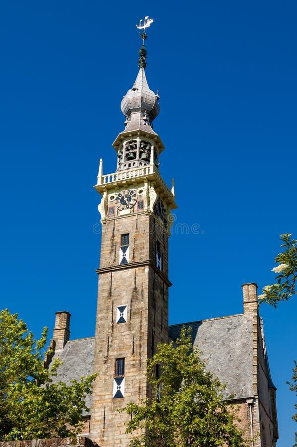 Torre de Bell velha da igreja em Veere, Países Baixos fotografia de stock royalty free