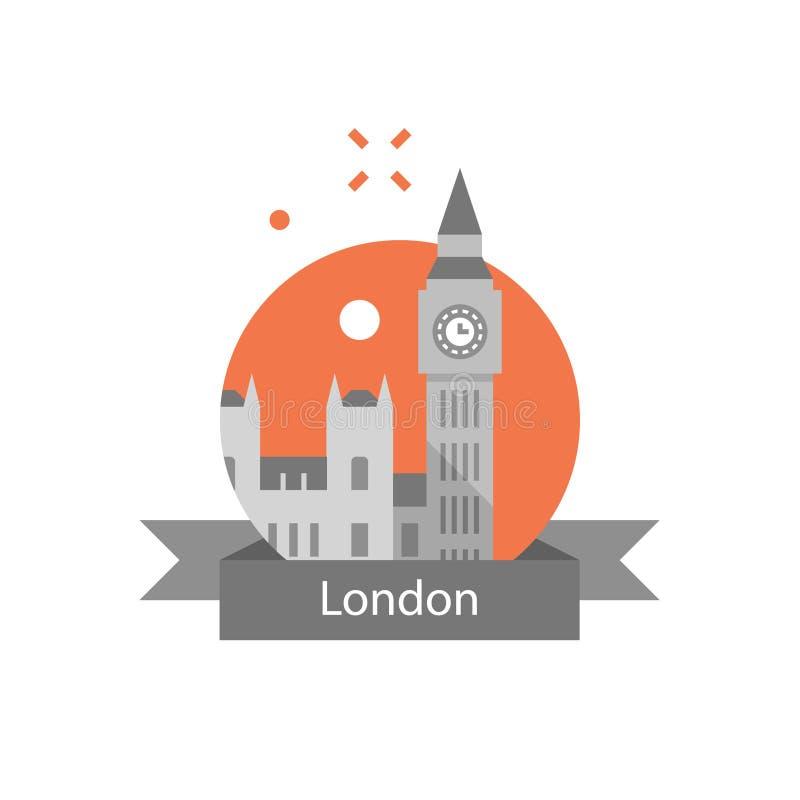 Torre de Big Ben com pulso de disparo, símbolo de Londres, destino do curso, marco famoso, a capital de Inglaterra, abadia de Wes ilustração stock