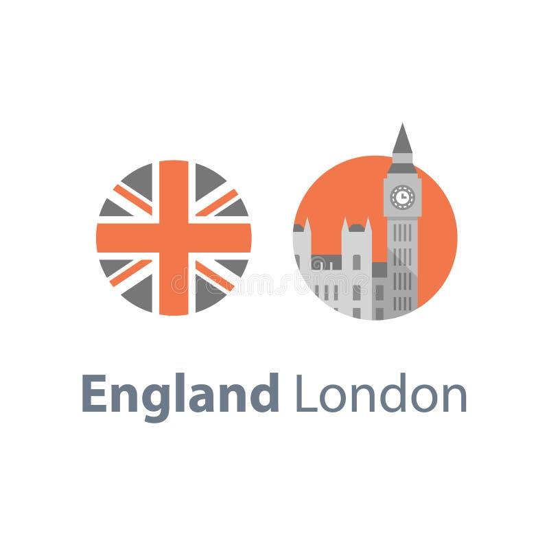 Torre de Big Ben com pulso de disparo, símbolo de Londres, destino do curso, marco famoso, a capital de Inglaterra, abadia de Wes ilustração royalty free