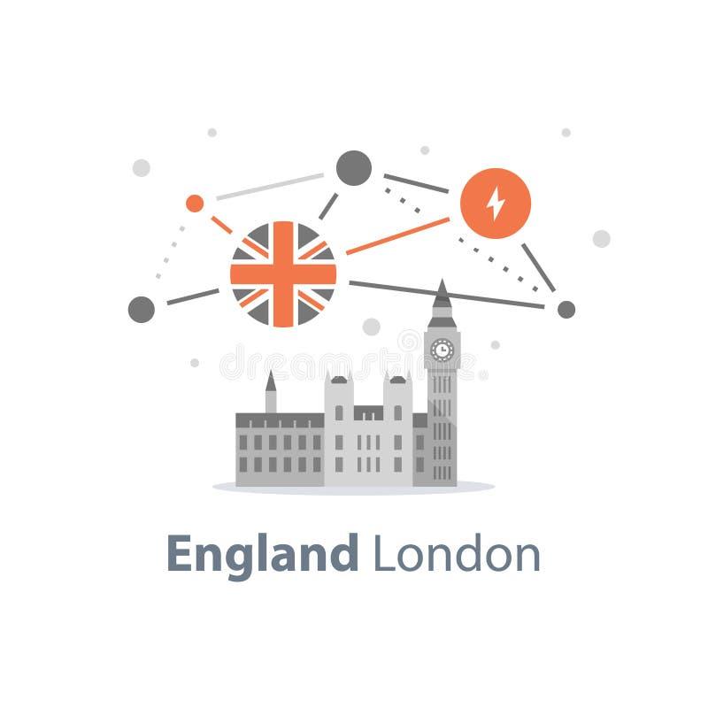 Torre de Big Ben com pulso de disparo, símbolo de Londres, destino do curso, marco famoso, a capital de Inglaterra, abadia de Wes ilustração do vetor