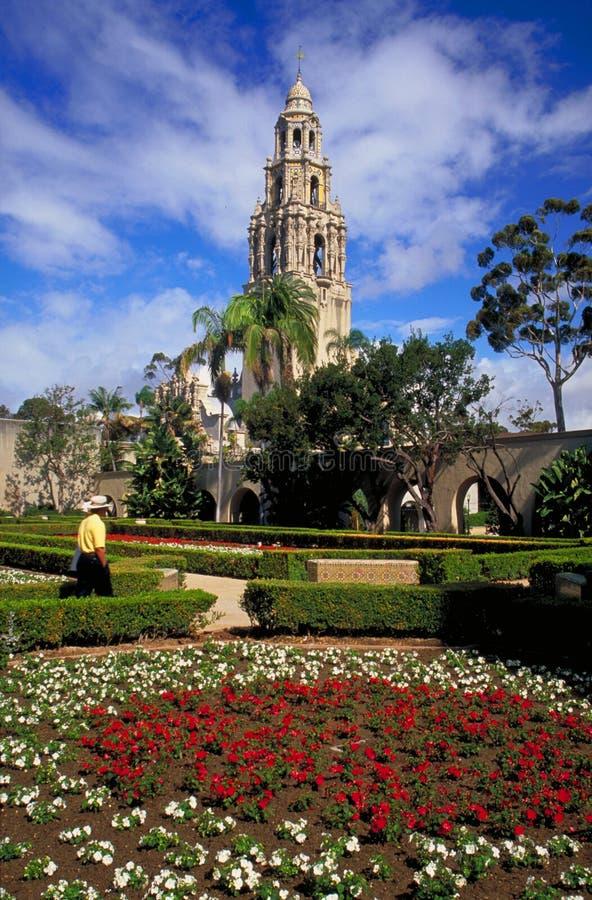 Torre de California y jardín del Alcazar fotografía de archivo