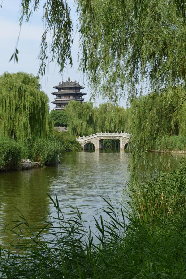 Torre de Chaoran em Daming Lake em Jinan imagem de stock