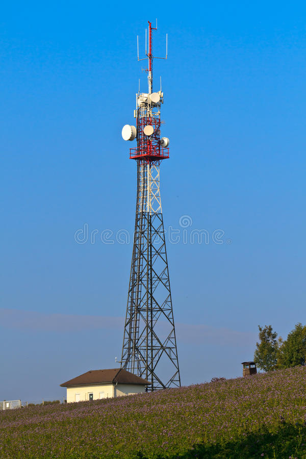Torre de comunicação no campo rural fotografia de stock royalty free