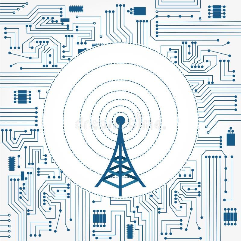 Torre de comunicación y circuito de la electrónica stock de ilustración