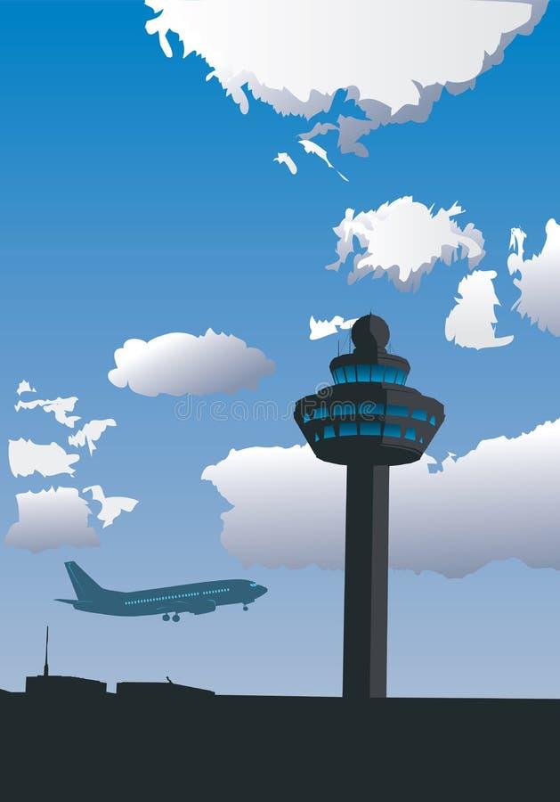 Torre de control del aeropuerto ilustración del vector