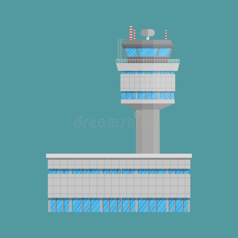 Torre de control del aeropuerto y terminal stock de ilustración