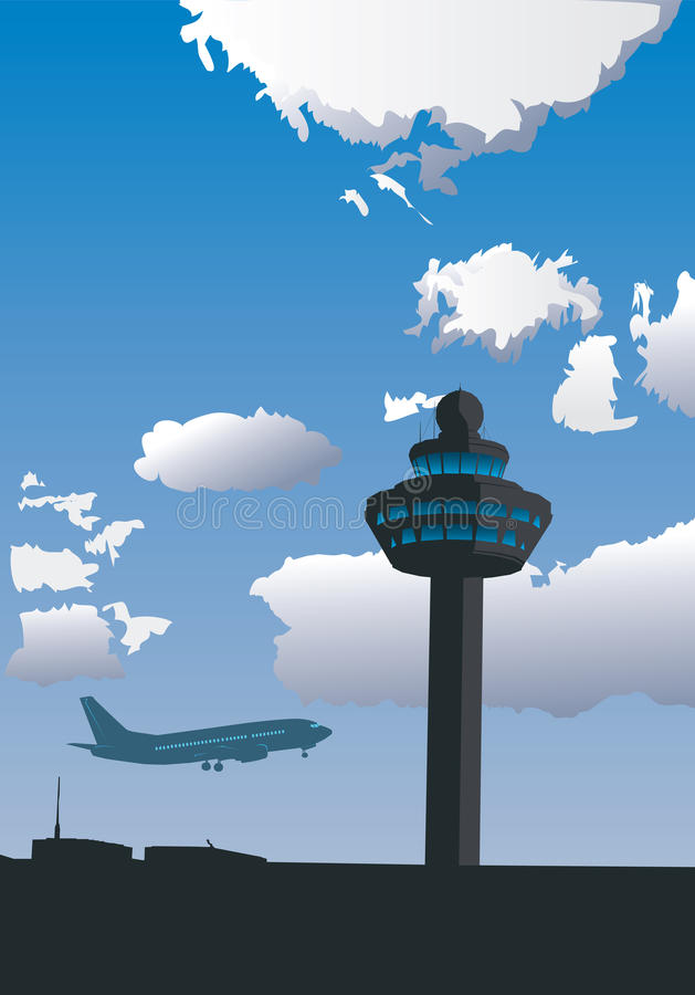 Torre de controlo do aeroporto ilustração do vetor