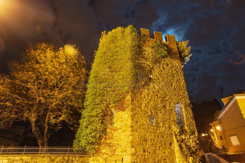 Torre de Cucherna na noite Trieste imagens de stock royalty free