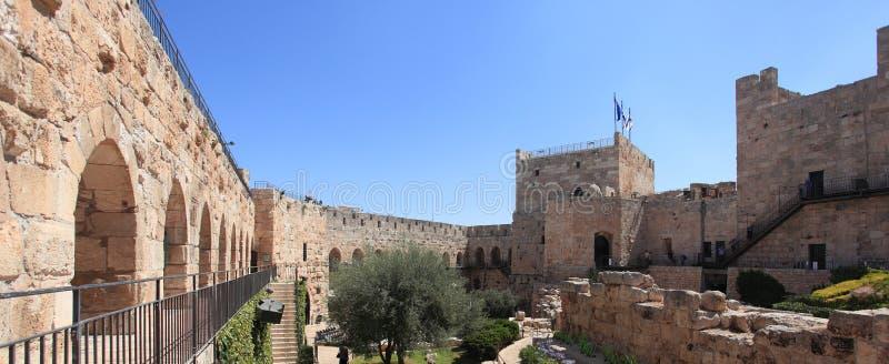 Torre de David Archaeological Courtyard fotos de stock royalty free
