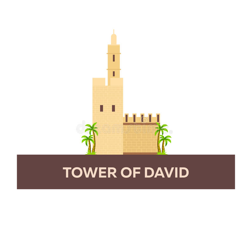 Torre de David Israel, Jerusalén Ejemplo plano del vector stock de ilustración