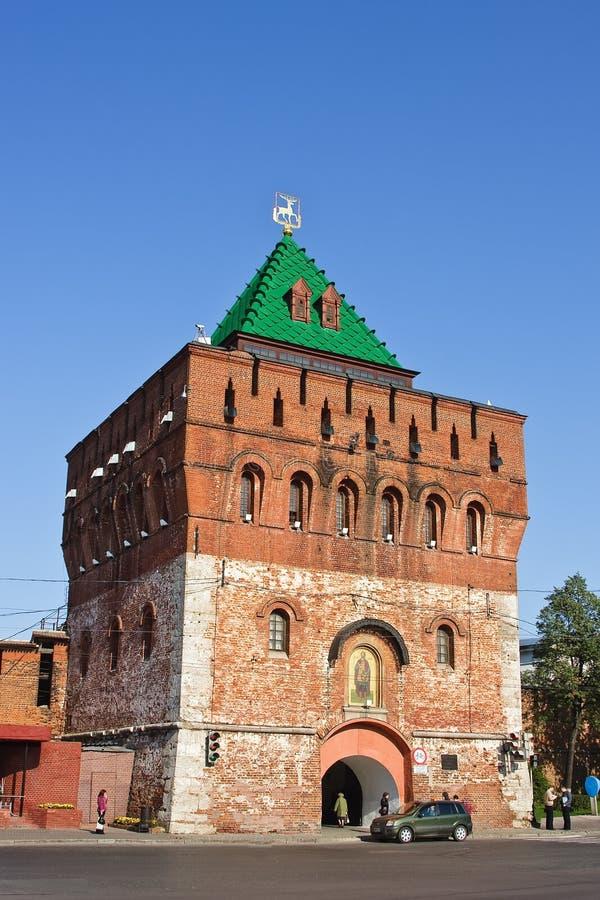 Torre de Dmitrovskaya de Nizhny Novgorod kremlin imagem de stock