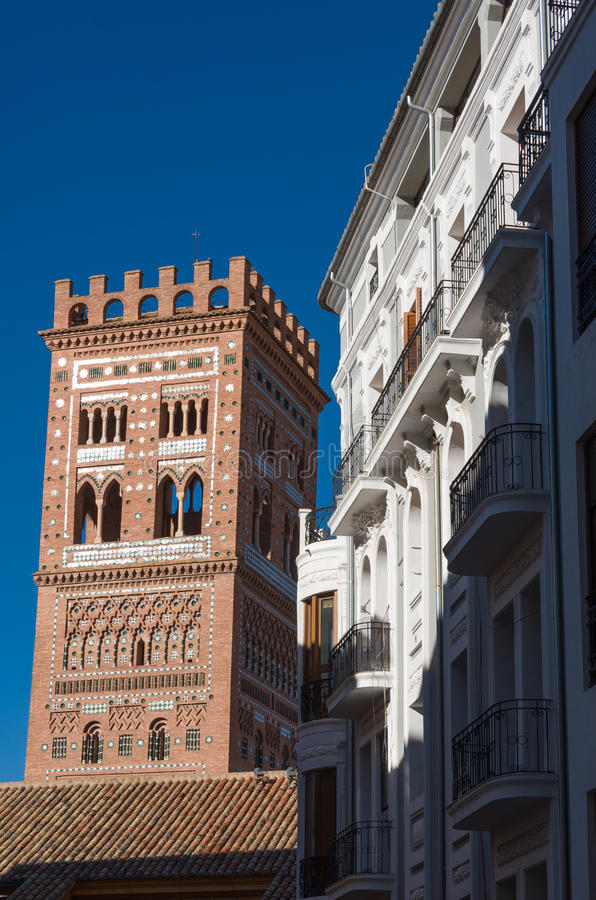 Torre de El Salvador tower in mudejar style is a UNESCO World H. Eritage Site,Teruel, Spain stock image