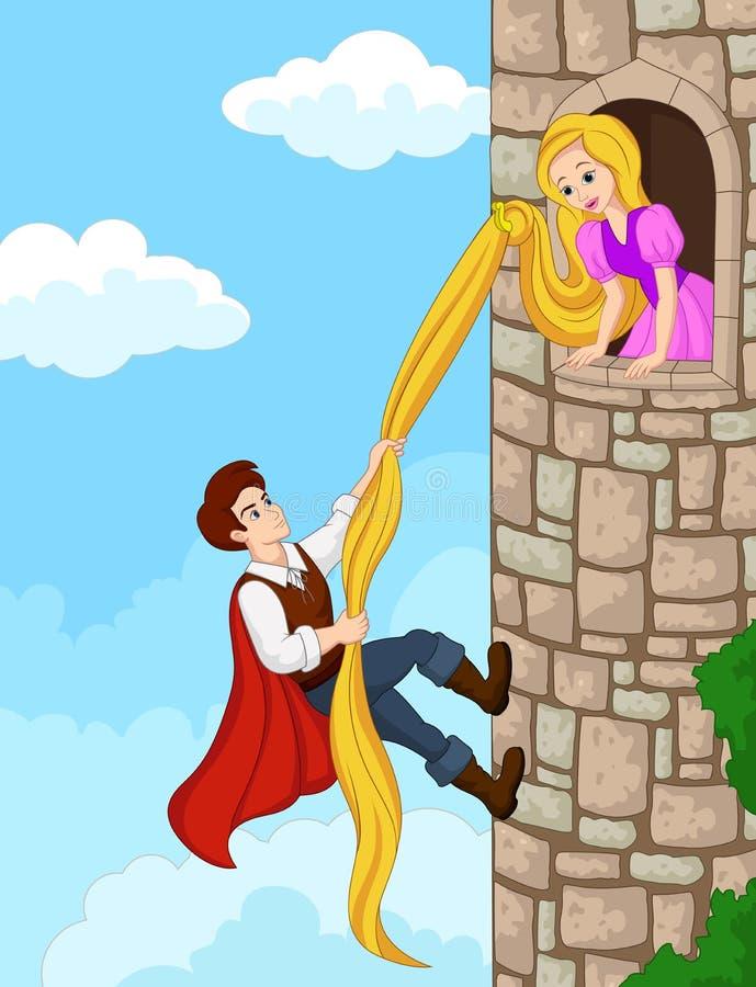 Torre de escalada do príncipe usando o cabelo longo ilustração stock