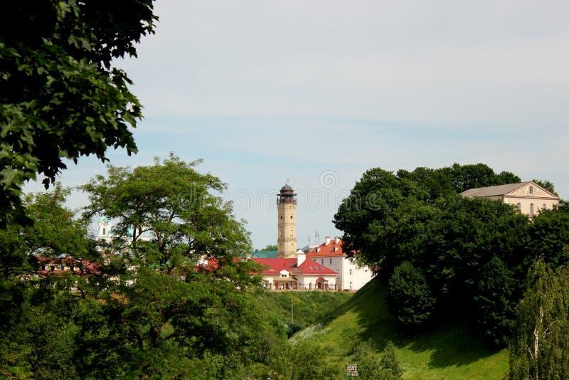 Torre de fogo antiga na cidade de Grodno foto de stock